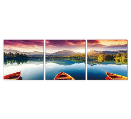 nakura-cuadro-triptico-barca-en-lago
